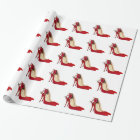 Red High Heel Shoes / Santa Elf Wrapping Paper