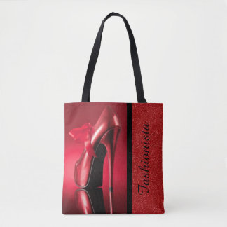 Red High Heel With Bow Tote Bag
