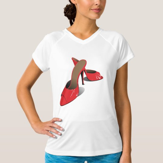 Red High Heeled Shoes Womens Active Tee