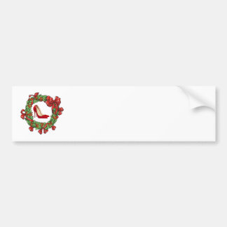 Red High Heels / Christmas Wreath Bumper Sticker