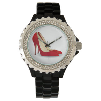 RED HIGH HEELS Rhinestone Black Enamel WATCH