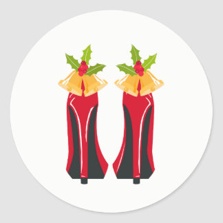 Red High Heels with Christmas Bells Classic Round Sticker