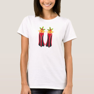 Red High Heels with Christmas Bells T-Shirt