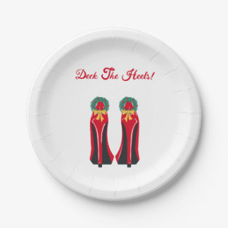 Red High Heels with Christmas Wreaths Paper Plate