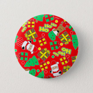 Red - Ho Ho Santa 2 Inch Round Button