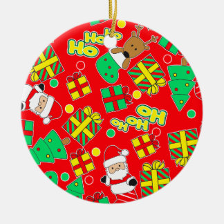 Red - Ho Ho Santa Ceramic Ornament