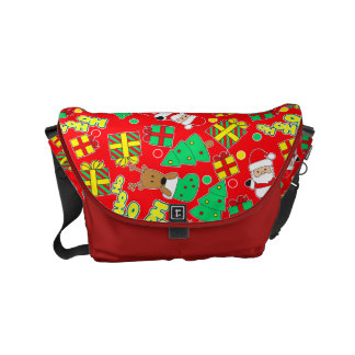 Red - Ho Ho Santa Messenger Bags