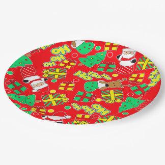 Red - Ho Ho Santa Paper Plate