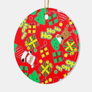 Red - Ho Ho Santa Round Ceramic Ornament