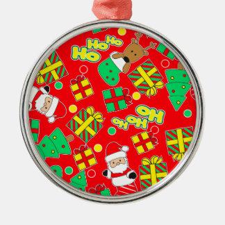 Red - Ho Ho Santa Silver-Colored Round Ornament