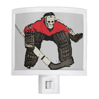 Red hockey goalie sports night light