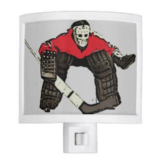 Red hockey goalie sports night light