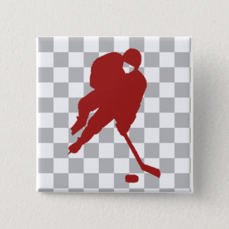 RED HOCKEY PLAYER 2 INCH SQUARE BUTTON