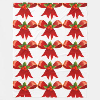 Red Holiday Bow with Holly Berry Fleece Blanket