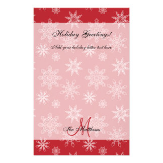 Red Holiday Letter Template | Snowflakes Stationery Paper