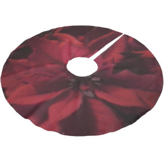 Red Holiday Poinsettia Christmas Tree Skirt