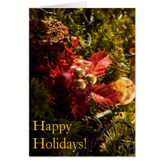 Red Holly Decorated Christmas Tree Card