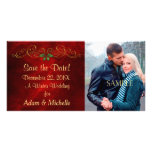 Red Holly Winter Wedding Save the Date Picture Card
