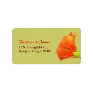 Red Hollyhock Simple Wedding Address Label