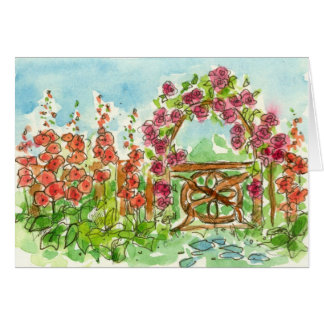 Red Hollyhock Watercolor Flowers Garden Gate Blank Card