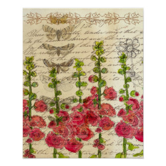 Red Hollyhocks Apple Blossom Butterfly Collage Poster