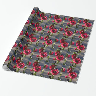 Red Hollyhocks in a summer garden Wrapping Paper