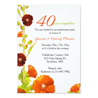 Red Hollyhocks White 40th Wedding Anniversary Card