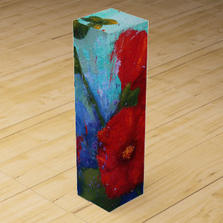Red Hollyhocks Wine Gift Box