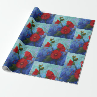 Red Hollyhocks Wrapping Paper