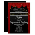 Red HOLLYWOOD Curtains & Gold Party Invitations