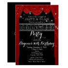 Red HOLLYWOOD Curtains & Silver Party Invitations