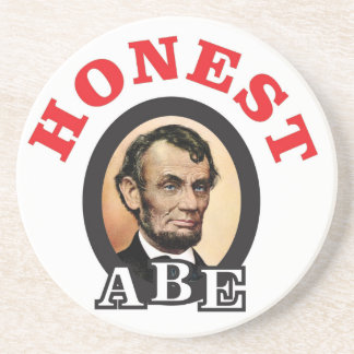 red honest abe art beverage coaster