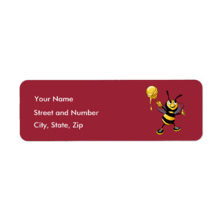 Red Honey Bee Rosh HaShana Return Address Label