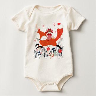 Red hood riding girl and fox in flower garden baby bodysuit