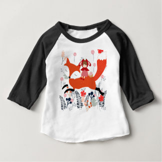 Red hood riding girl and fox in flower garden baby T-Shirt