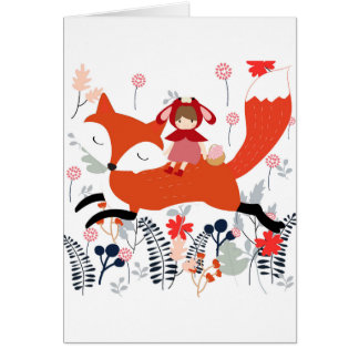 Red hood riding girl and fox in flower garden card