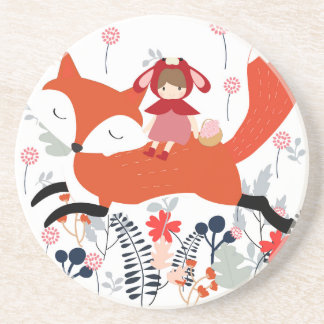 Red hood riding girl and fox in flower garden coaster
