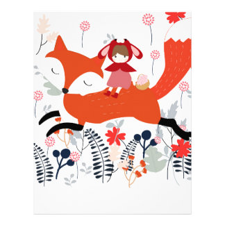 Red hood riding girl and fox in flower garden letterhead