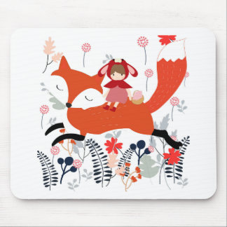Red hood riding girl and fox in flower garden mouse pad
