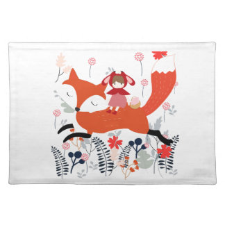 Red hood riding girl and fox in flower garden placemat