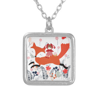 Red hood riding girl and fox in flower garden silver plated necklace