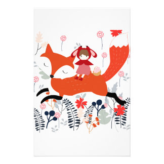 Red hood riding girl and fox in flower garden stationery