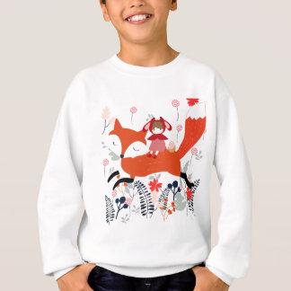 Red hood riding girl and fox in flower garden sweatshirt