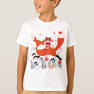 Red hood riding girl and fox in flower garden T-Shirt