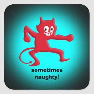 Red Horned Imp, Pointed Tail, sometimes naughty Square Sticker