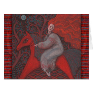 """Red Horse"", ginger woman, folk art, earth shades Card"
