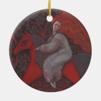 """""""Red Horse"""", ginger woman, folk art, earth shades Round Ceramic Ornament"""