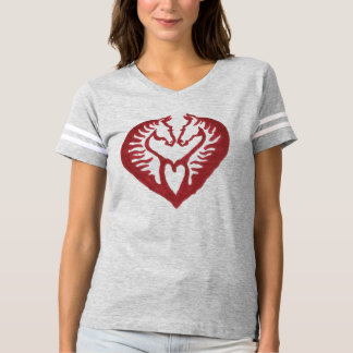 Red Horse Heads Love Heart Ladies Sport T-shirt