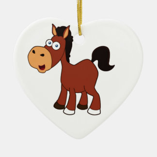 red horse pony ceramic heart ornament