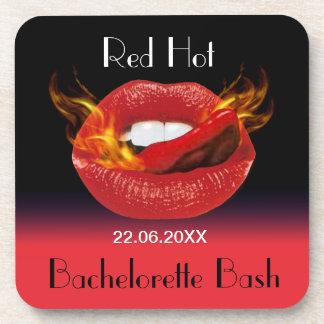Red Hot Bachelorette Bash Beverage Coasters